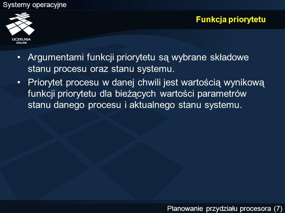 Systemy operacyjne Planowanie przydziału procesora. Funkcja priorytetu.