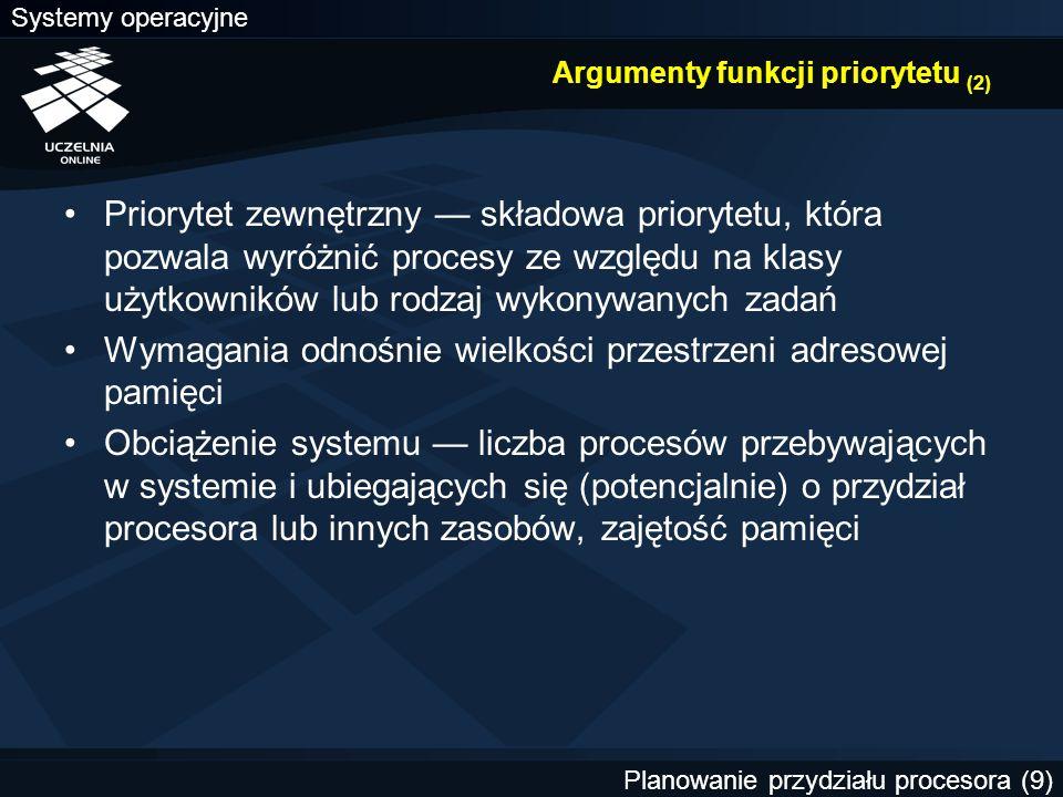 Argumenty funkcji priorytetu (2)