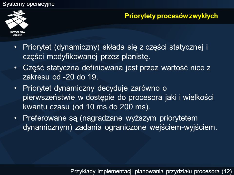 Priorytety procesów zwykłych