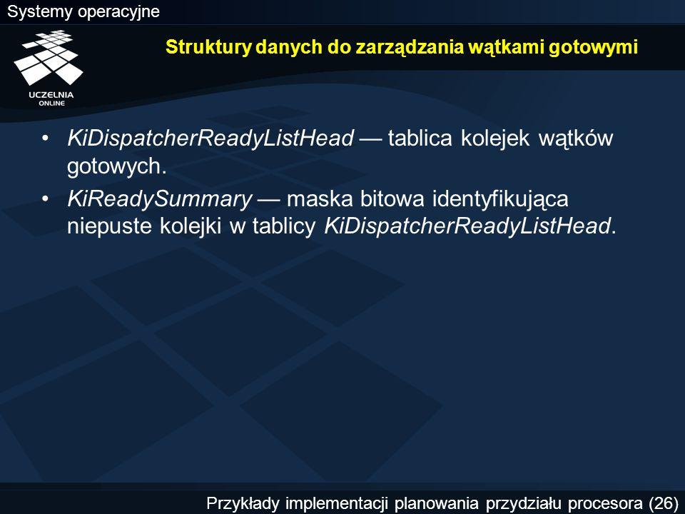 Struktury danych do zarządzania wątkami gotowymi