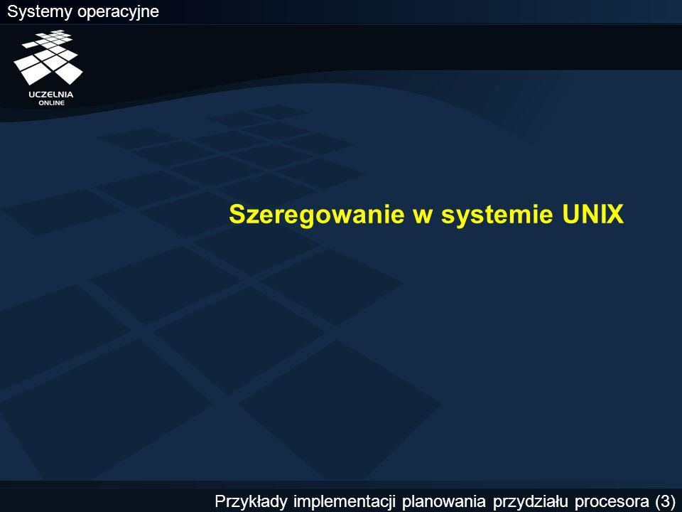 Szeregowanie w systemie UNIX