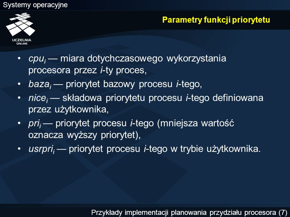 Parametry funkcji priorytetu