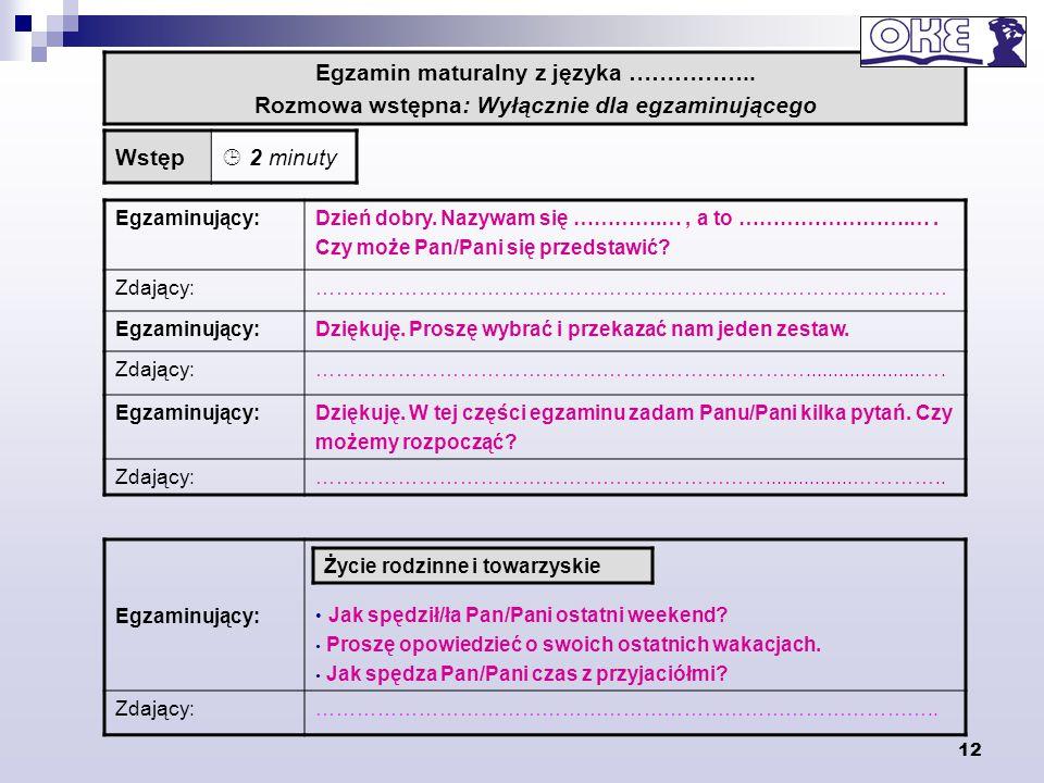 Egzamin maturalny z języka ……………..