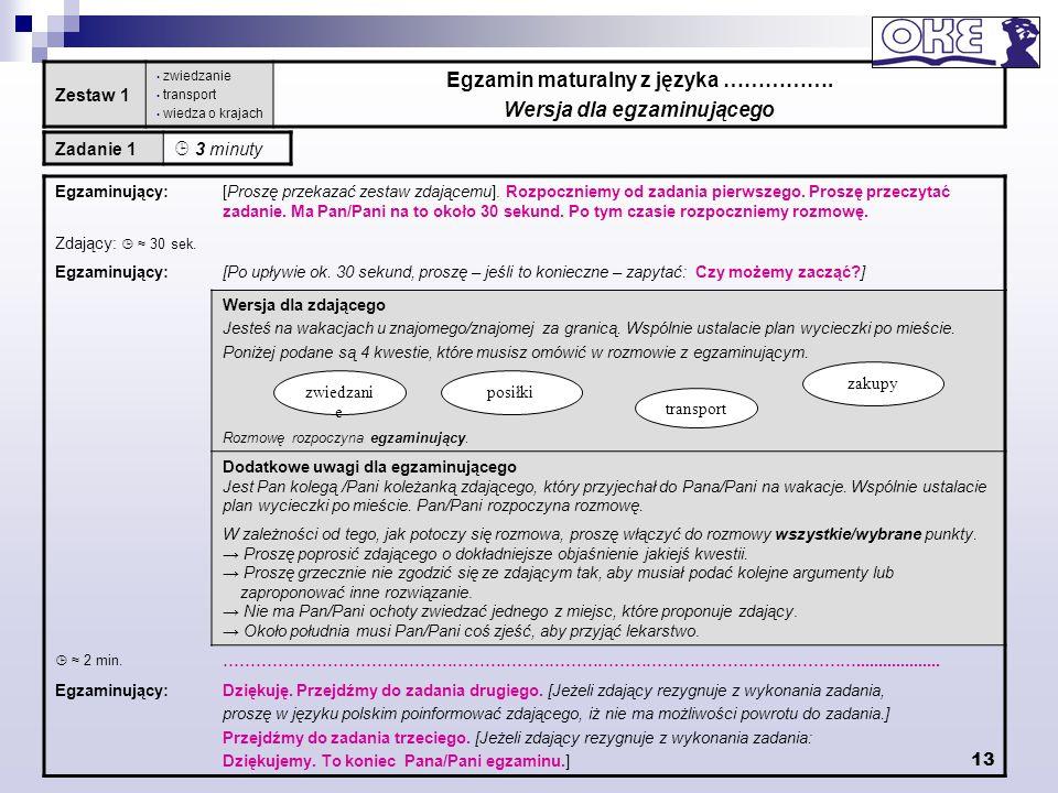 Egzamin maturalny z języka ……………. Wersja dla egzaminującego