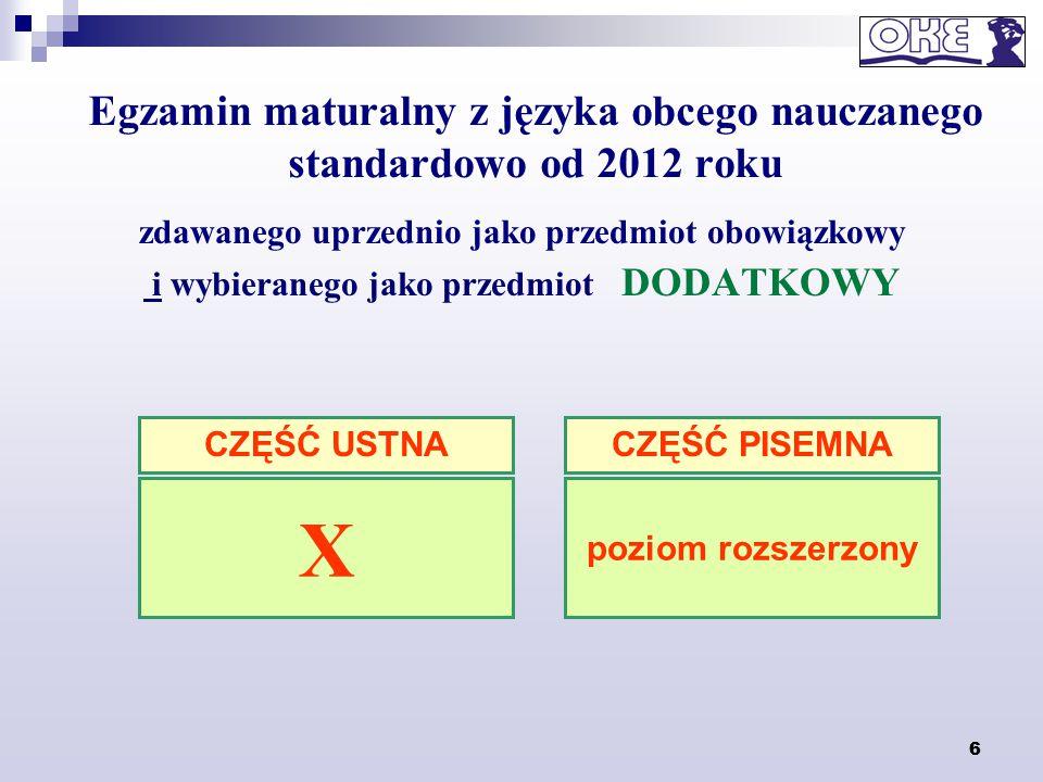 Egzamin maturalny z języka obcego nauczanego standardowo od 2012 roku