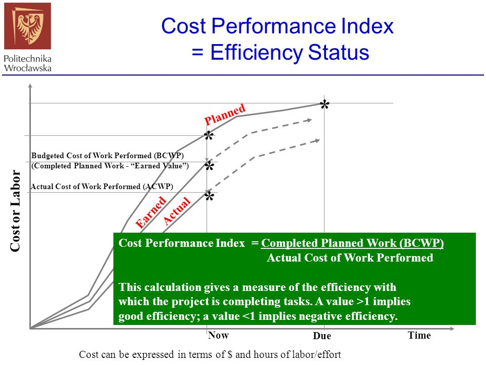 Cost Performance Index = Efficiency Status