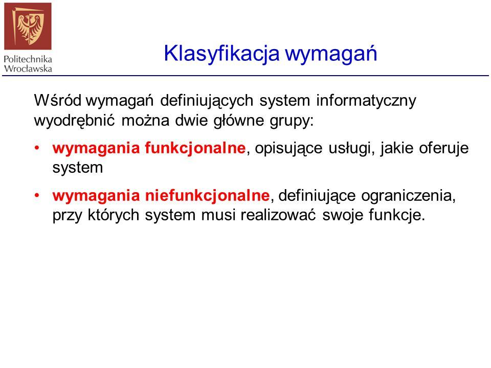 Klasyfikacja wymagań Wśród wymagań definiujących system informatyczny wyodrębnić można dwie główne grupy: