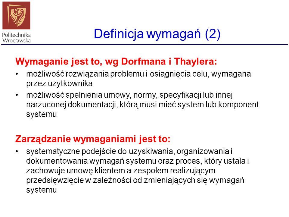 Definicja wymagań (2) Wymaganie jest to, wg Dorfmana i Thaylera: