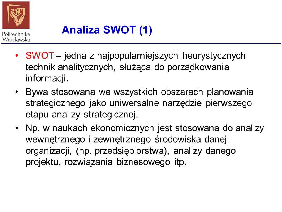 Analiza SWOT (1) SWOT – jedna z najpopularniejszych heurystycznych technik analitycznych, służąca do porządkowania informacji.