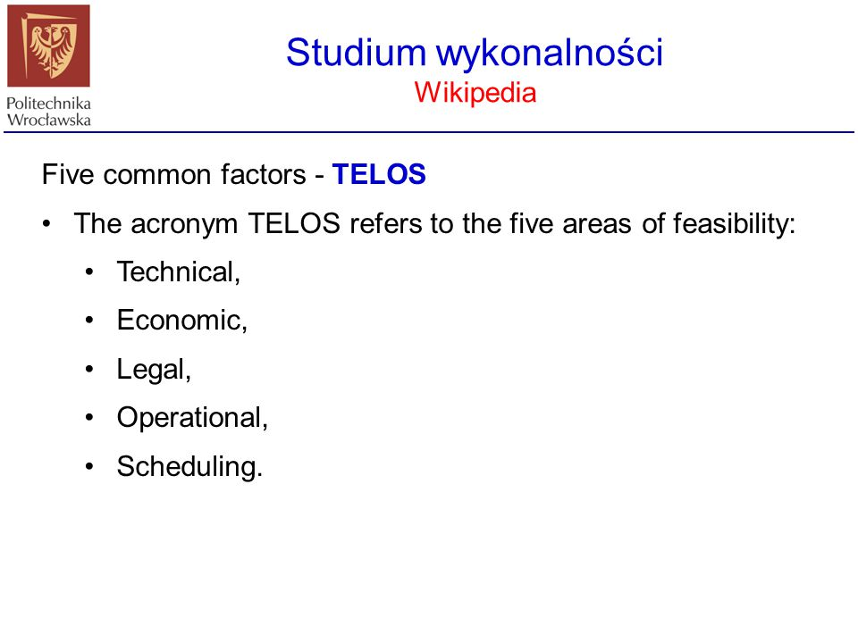 Studium wykonalności Wikipedia Five common factors - TELOS