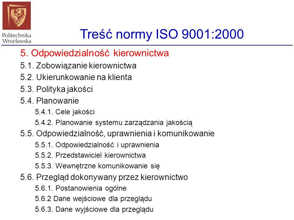 Treść normy ISO 9001:2000 5. Odpowiedzialność kierownictwa