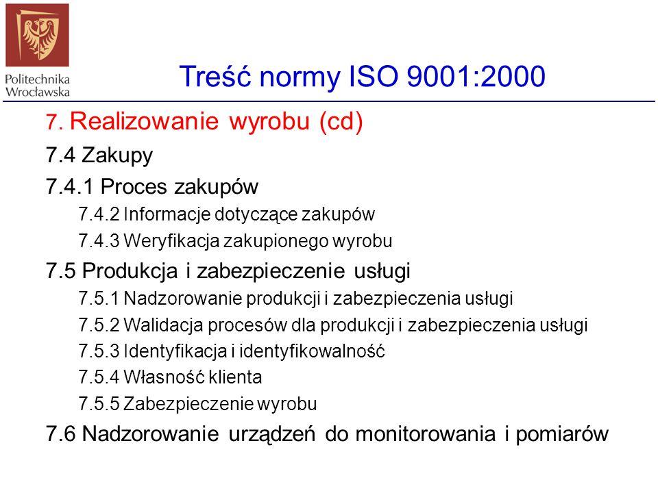 Treść normy ISO 9001:2000 7. Realizowanie wyrobu (cd) 7.4 Zakupy
