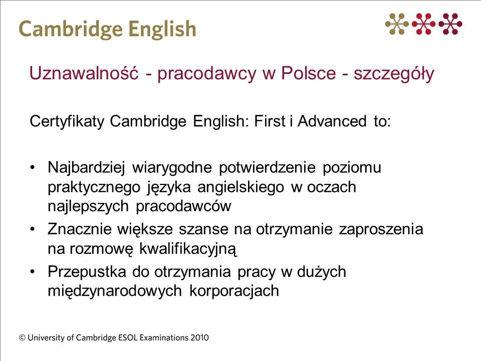 Uznawalność - pracodawcy w Polsce - szczegóły