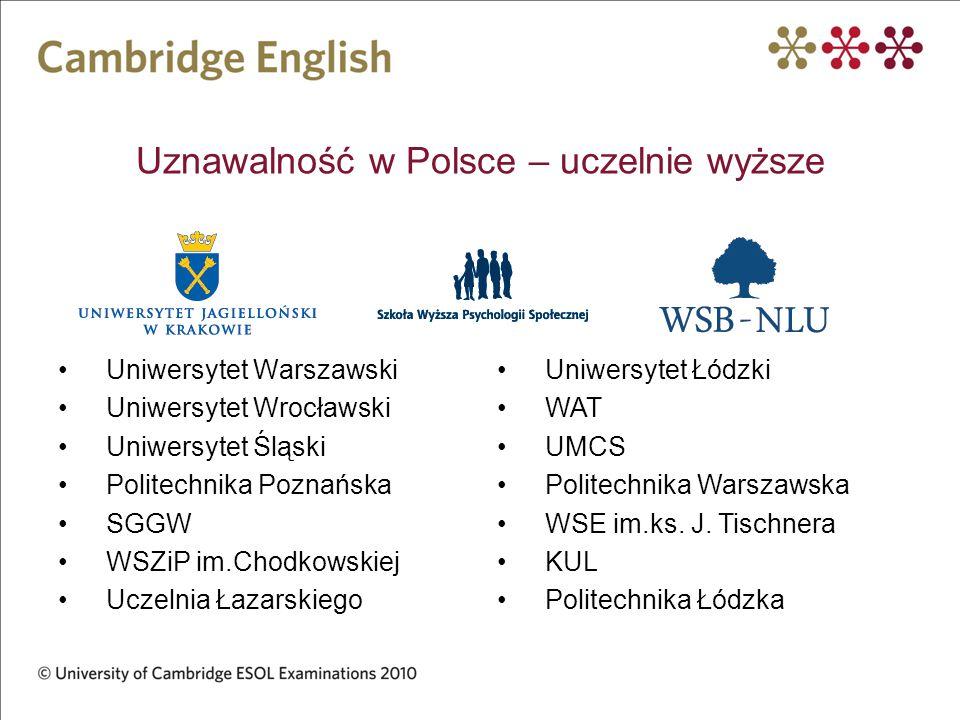 Uznawalność w Polsce – uczelnie wyższe