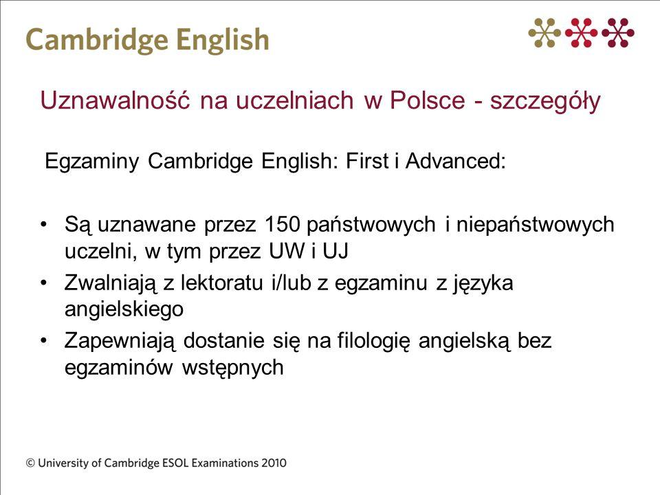 Uznawalność na uczelniach w Polsce - szczegóły