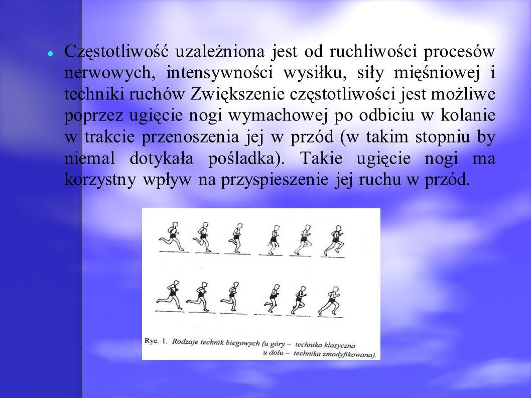 Częstotliwość uzależniona jest od ruchliwości procesów nerwowych, intensywności wysiłku, siły mięśniowej i techniki ruchów Zwiększenie częstotliwości jest możliwe poprzez ugięcie nogi wymachowej po odbiciu w kolanie w trakcie przenoszenia jej w przód (w takim stopniu by niemal dotykała pośladka).