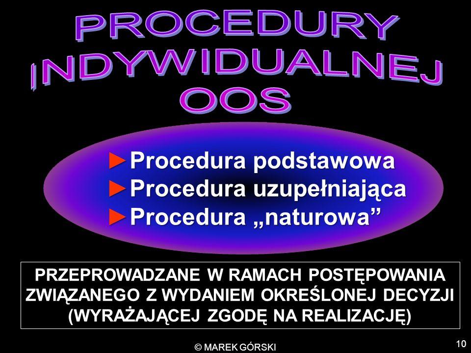 PROCEDURY INDYWIDUALNEJ OOS Procedura podstawowa