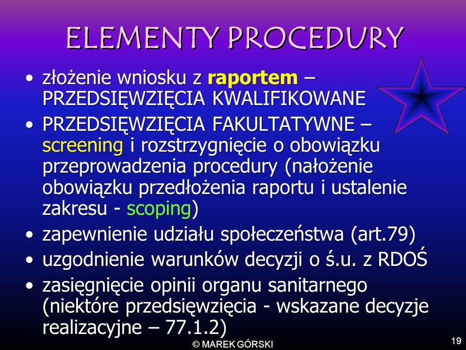 ELEMENTY PROCEDURY złożenie wniosku z raportem – PRZEDSIĘWZIĘCIA KWALIFIKOWANE.