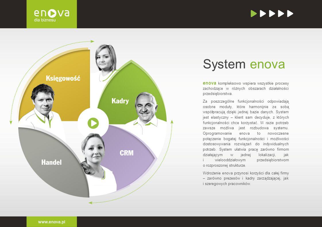 System enova enova kompleksowo wspiera wszystkie procesy zachodzące w różnych obszarach działalności przedsiębiorstwa.