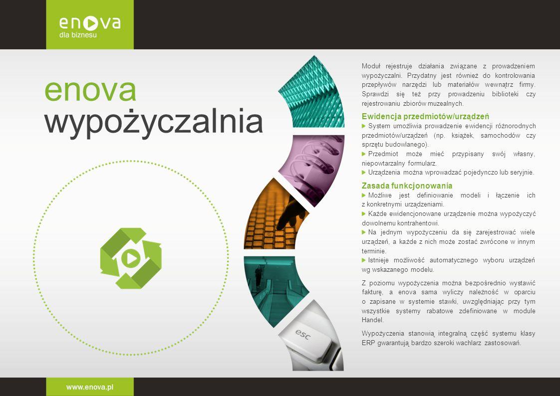 enova wypożyczalnia Ewidencja przedmiotów/urządzeń