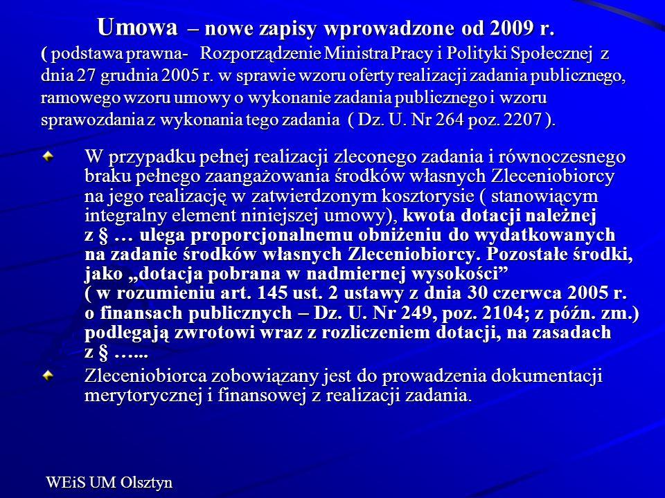 Umowa – nowe zapisy wprowadzone od 2009 r