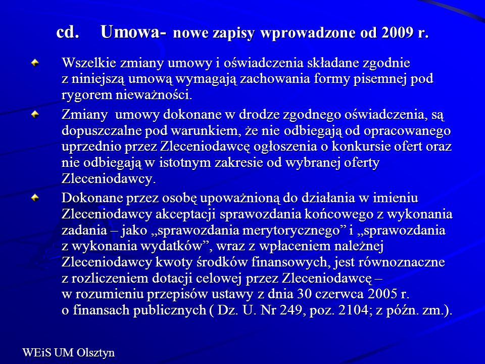 Umowa- nowe zapisy wprowadzone od 2009 r.