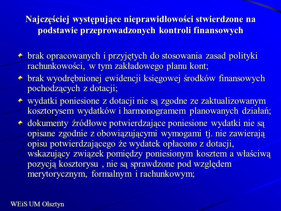 Najczęściej występujące nieprawidłowości stwierdzone na podstawie przeprowadzonych kontroli finansowych