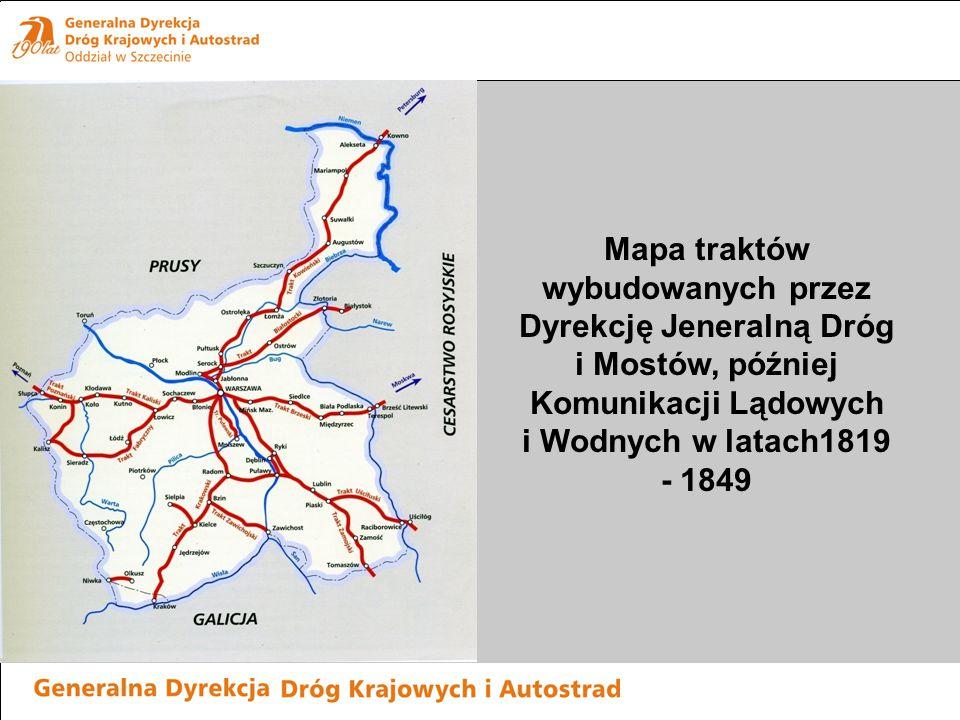 Mapa traktów wybudowanych przez Dyrekcję Jeneralną Dróg