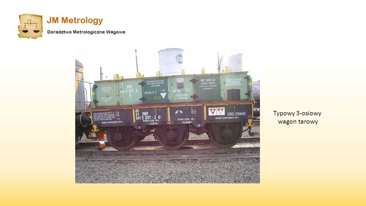 Typowy 3-osiowy wagon tarowy