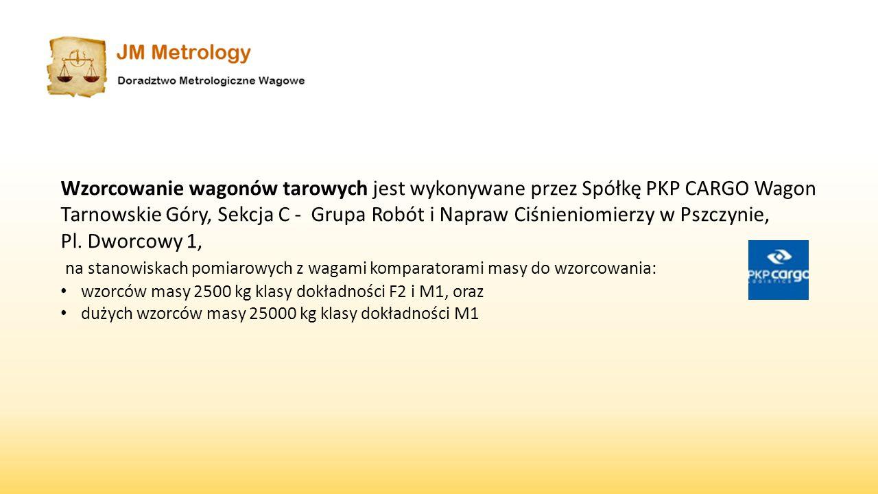 Wzorcowanie wagonów tarowych jest wykonywane przez Spółkę PKP CARGO Wagon Tarnowskie Góry, Sekcja C - Grupa Robót i Napraw Ciśnieniomierzy w Pszczynie,
