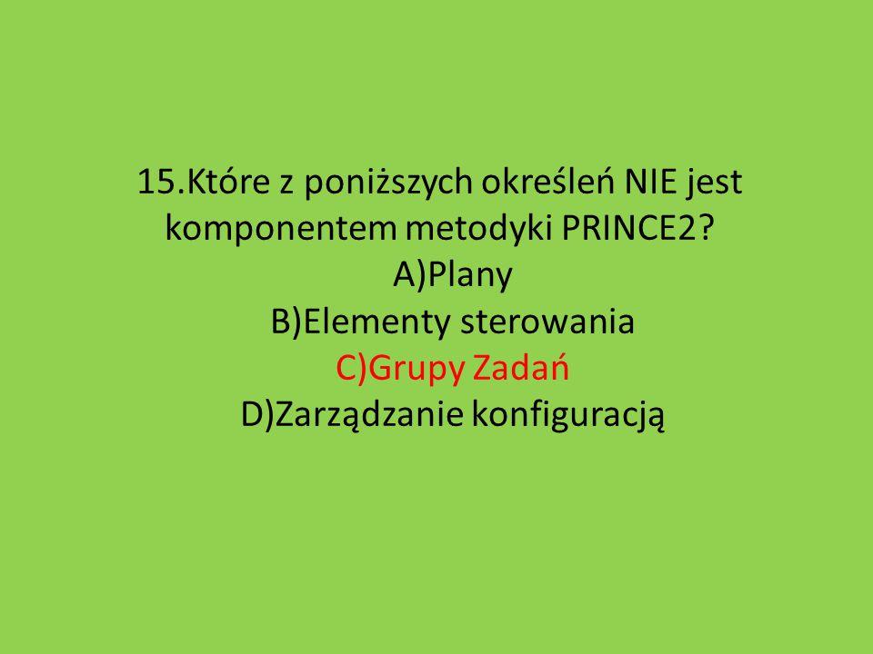 15. Które z poniższych określeń NIE jest komponentem metodyki PRINCE2