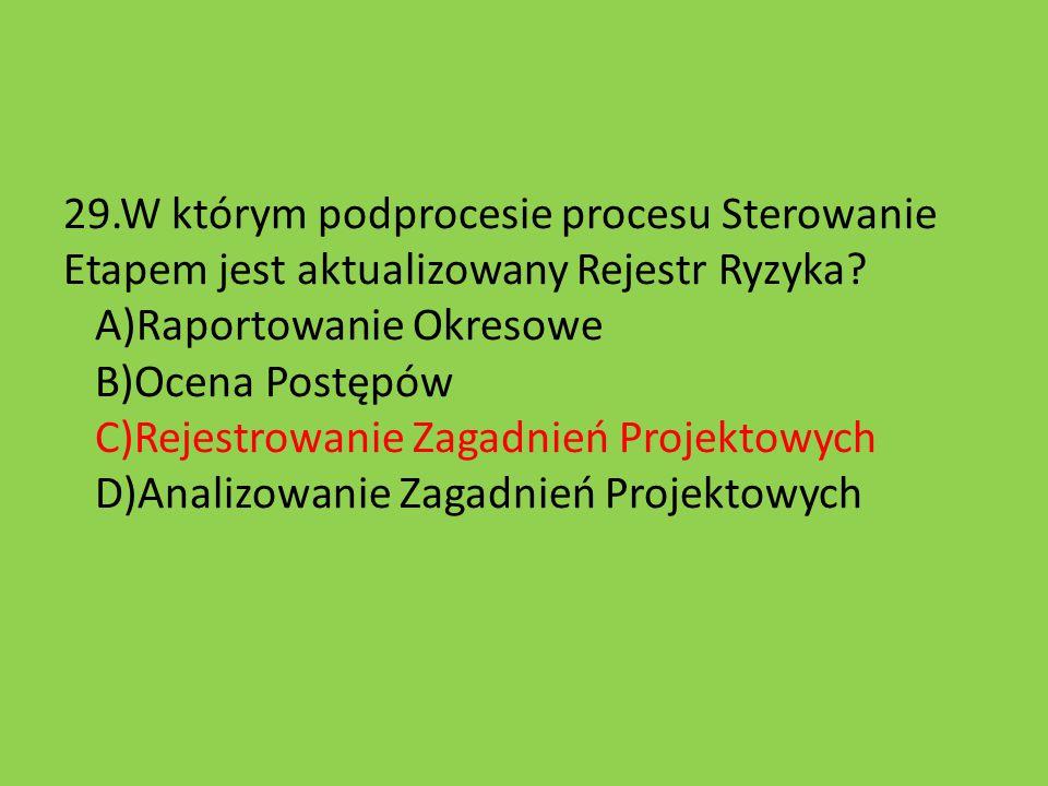 29.W którym podprocesie procesu Sterowanie Etapem jest aktualizowany Rejestr Ryzyka.