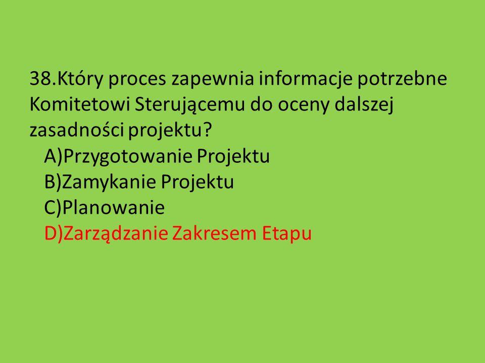38.Który proces zapewnia informacje potrzebne Komitetowi Sterującemu do oceny dalszej zasadności projektu.