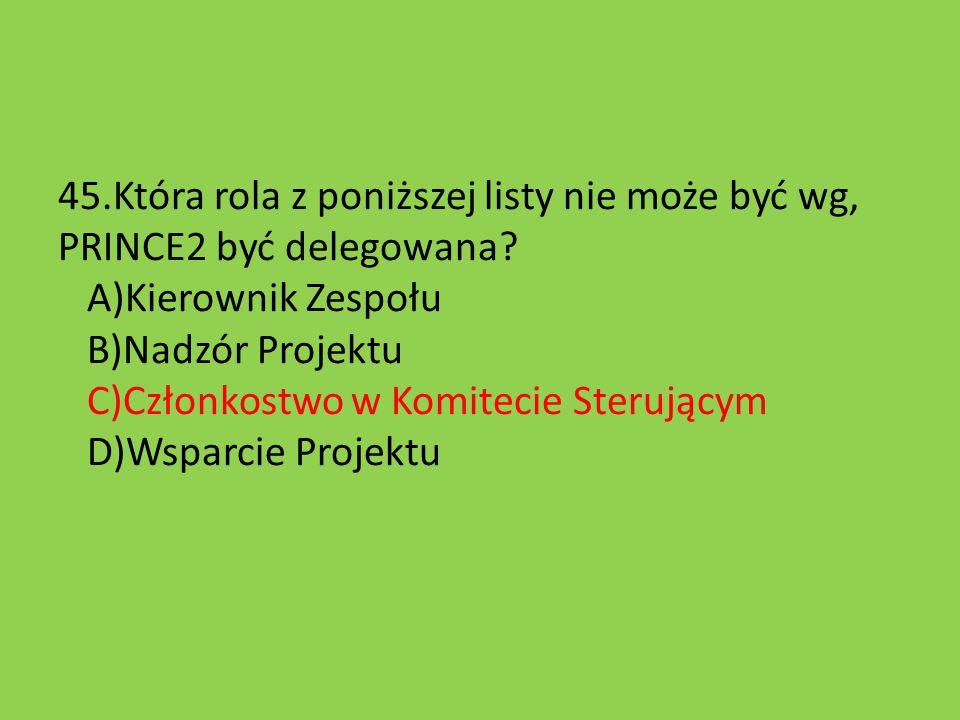 45.Która rola z poniższej listy nie może być wg, PRINCE2 być delegowana.