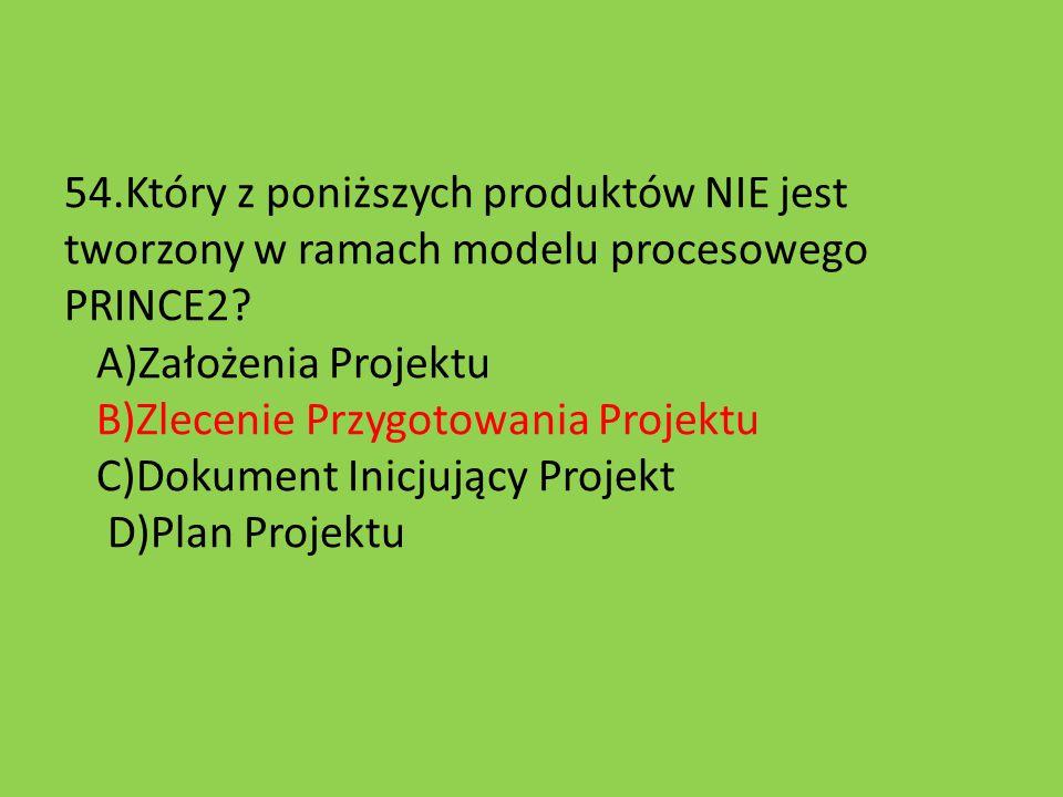 54.Który z poniższych produktów NIE jest tworzony w ramach modelu procesowego PRINCE2.