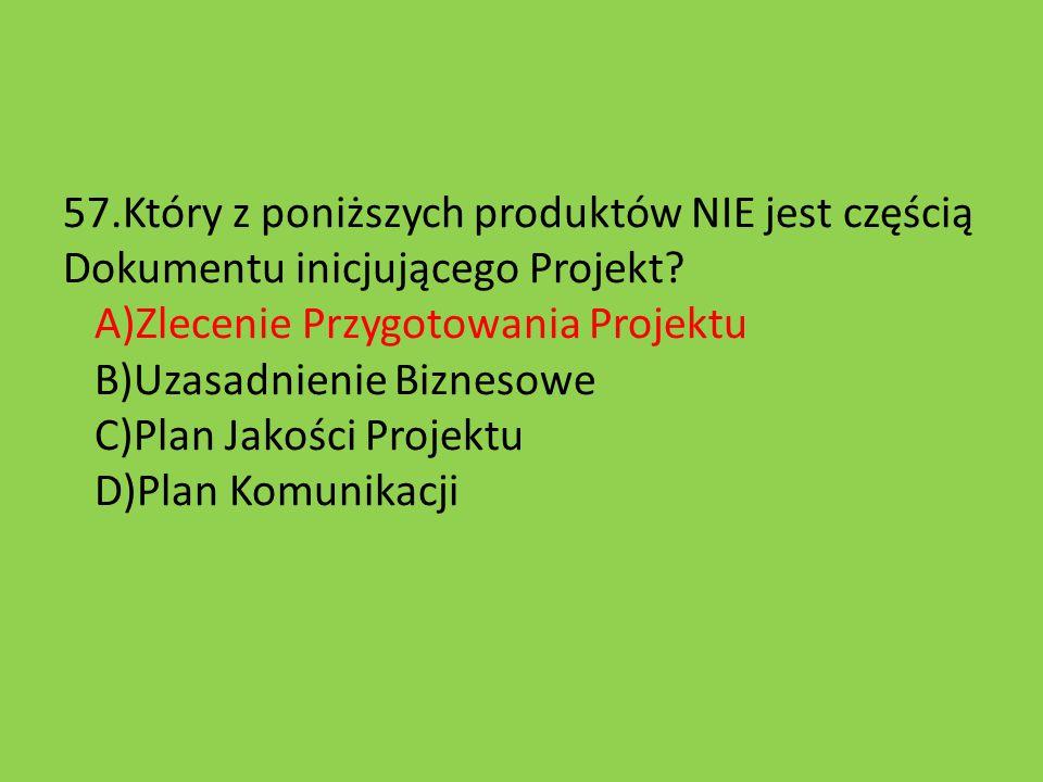 57.Który z poniższych produktów NIE jest częścią Dokumentu inicjującego Projekt.