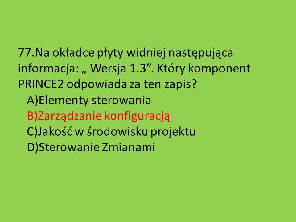"""77. Na okładce płyty widniej następująca informacja: """" Wersja 1. 3"""