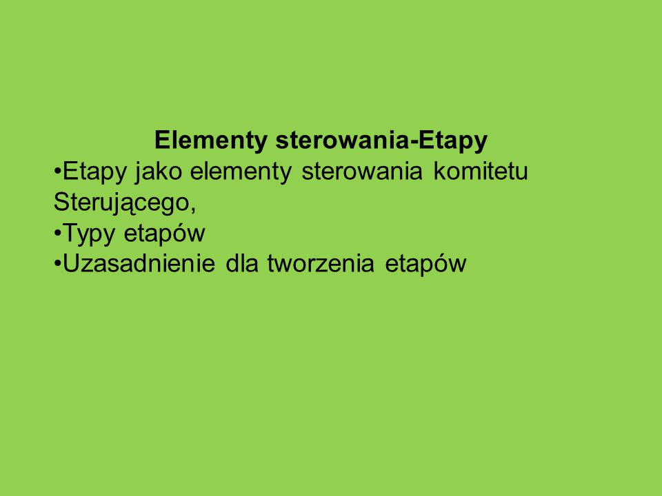 Elementy sterowania-Etapy