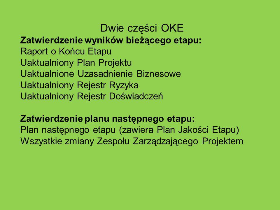 Dwie części OKE Zatwierdzenie wyników bieżącego etapu: