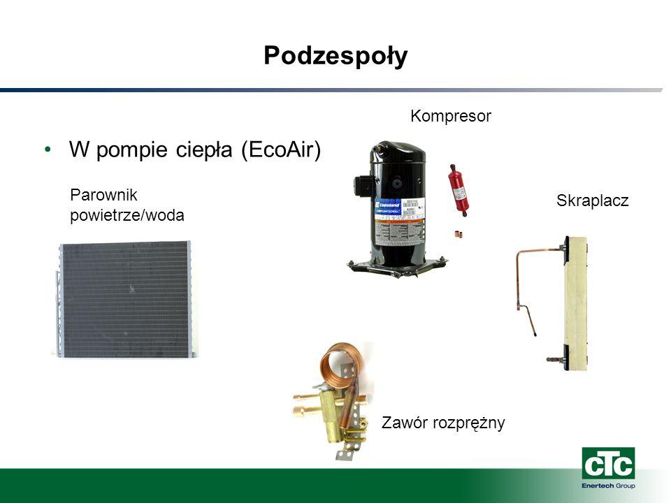 Podzespoły W pompie ciepła (EcoAir) Kompresor Parownik powietrze/woda