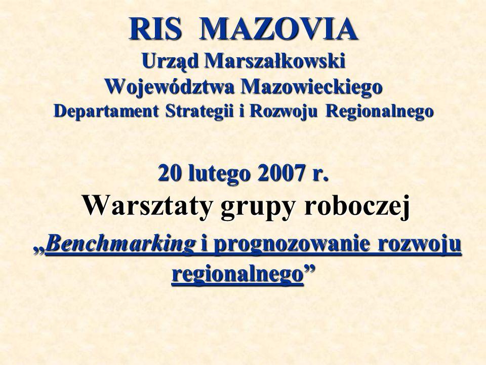RIS MAZOVIA Urząd Marszałkowski Województwa Mazowieckiego Departament Strategii i Rozwoju Regionalnego 20 lutego 2007 r.