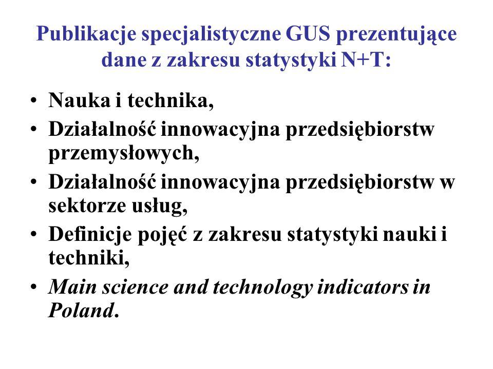 Publikacje specjalistyczne GUS prezentujące dane z zakresu statystyki N+T: