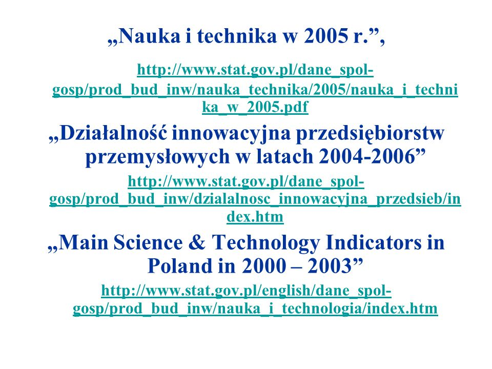 """Main Science & Technology Indicators in Poland in 2000 – 2003"