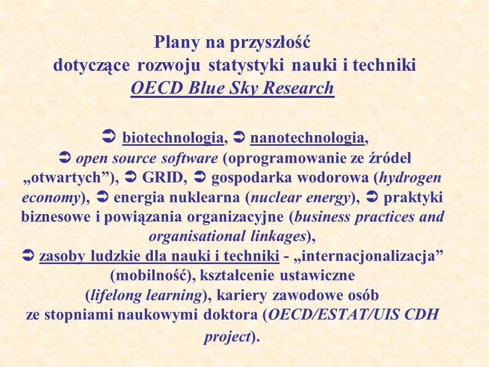 """Plany na przyszłość dotyczące rozwoju statystyki nauki i techniki OECD Blue Sky Research  biotechnologia,  nanotechnologia,  open source software (oprogramowanie ze źródeł """"otwartych ),  GRID,  gospodarka wodorowa (hydrogen economy),  energia nuklearna (nuclear energy),  praktyki biznesowe i powiązania organizacyjne (business practices and organisational linkages),  zasoby ludzkie dla nauki i techniki - """"internacjonalizacja (mobilność), kształcenie ustawiczne (lifelong learning), kariery zawodowe osób ze stopniami naukowymi doktora (OECD/ESTAT/UIS CDH project)."""