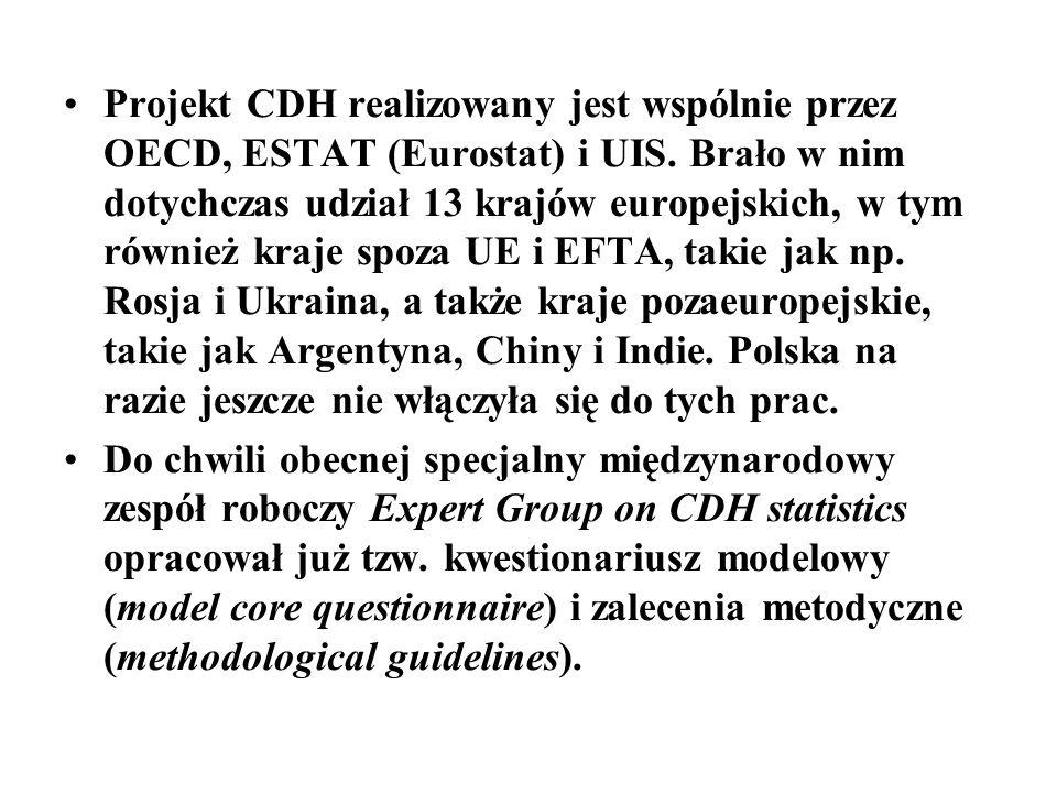 Projekt CDH realizowany jest wspólnie przez OECD, ESTAT (Eurostat) i UIS. Brało w nim dotychczas udział 13 krajów europejskich, w tym również kraje spoza UE i EFTA, takie jak np. Rosja i Ukraina, a także kraje pozaeuropejskie, takie jak Argentyna, Chiny i Indie. Polska na razie jeszcze nie włączyła się do tych prac.