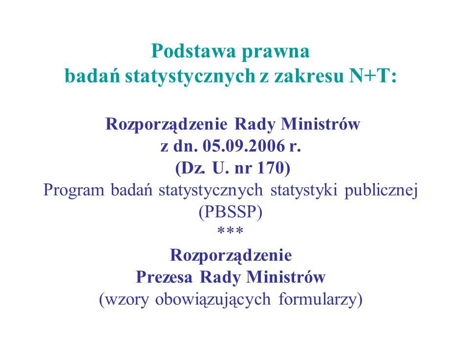 Podstawa prawna badań statystycznych z zakresu N+T: Rozporządzenie Rady Ministrów z dn.