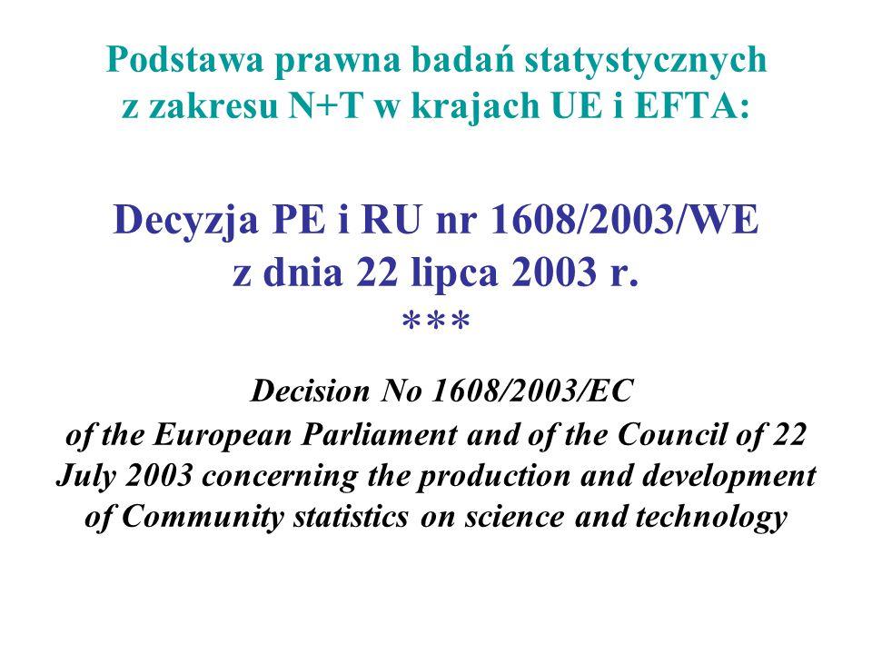 Podstawa prawna badań statystycznych z zakresu N+T w krajach UE i EFTA: Decyzja PE i RU nr 1608/2003/WE z dnia 22 lipca 2003 r.
