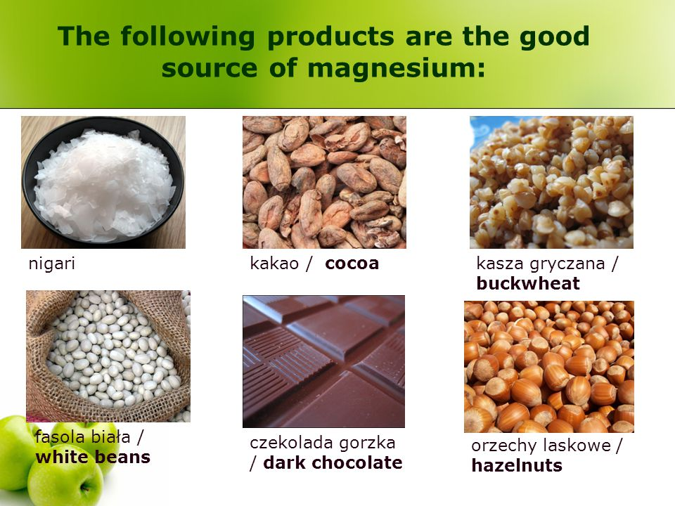 The following products are the good source of magnesium: