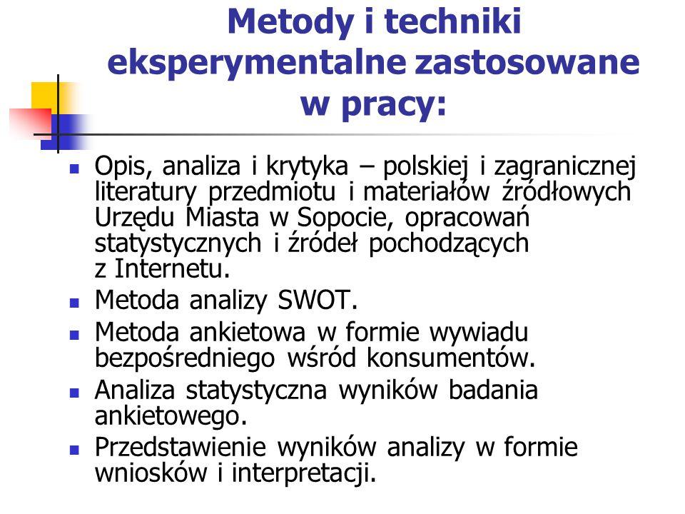 Metody i techniki eksperymentalne zastosowane w pracy: