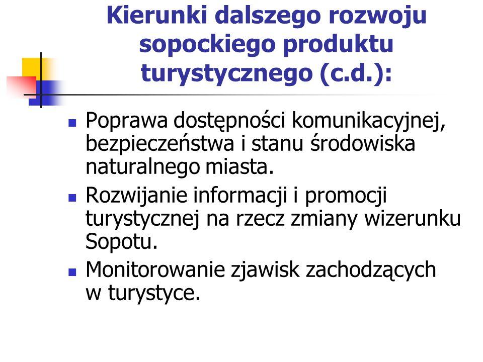 Kierunki dalszego rozwoju sopockiego produktu turystycznego (c.d.):